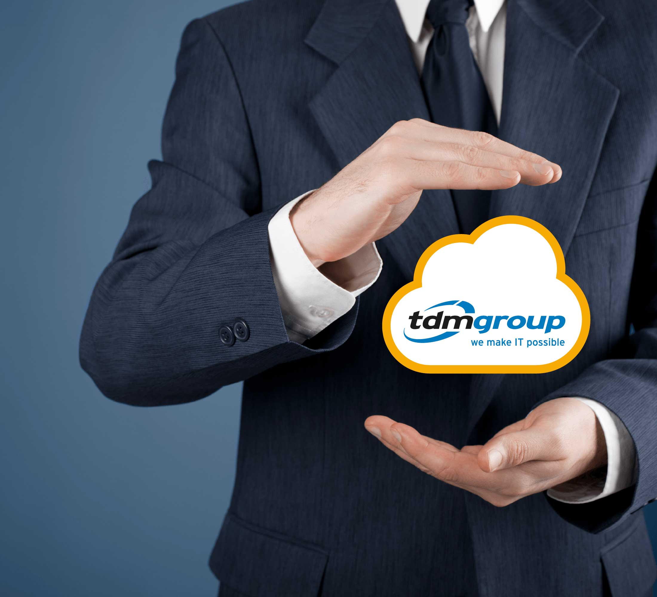 Hands around a Management Cloud with TDM Group logo