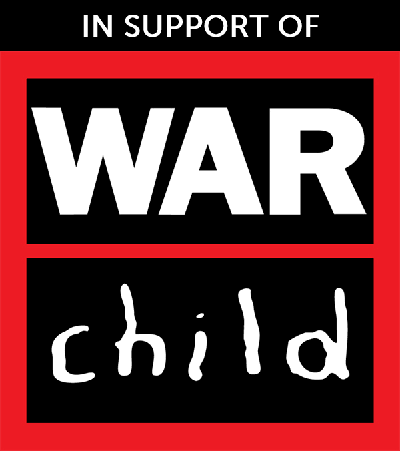 black, red and white poster in support of war child