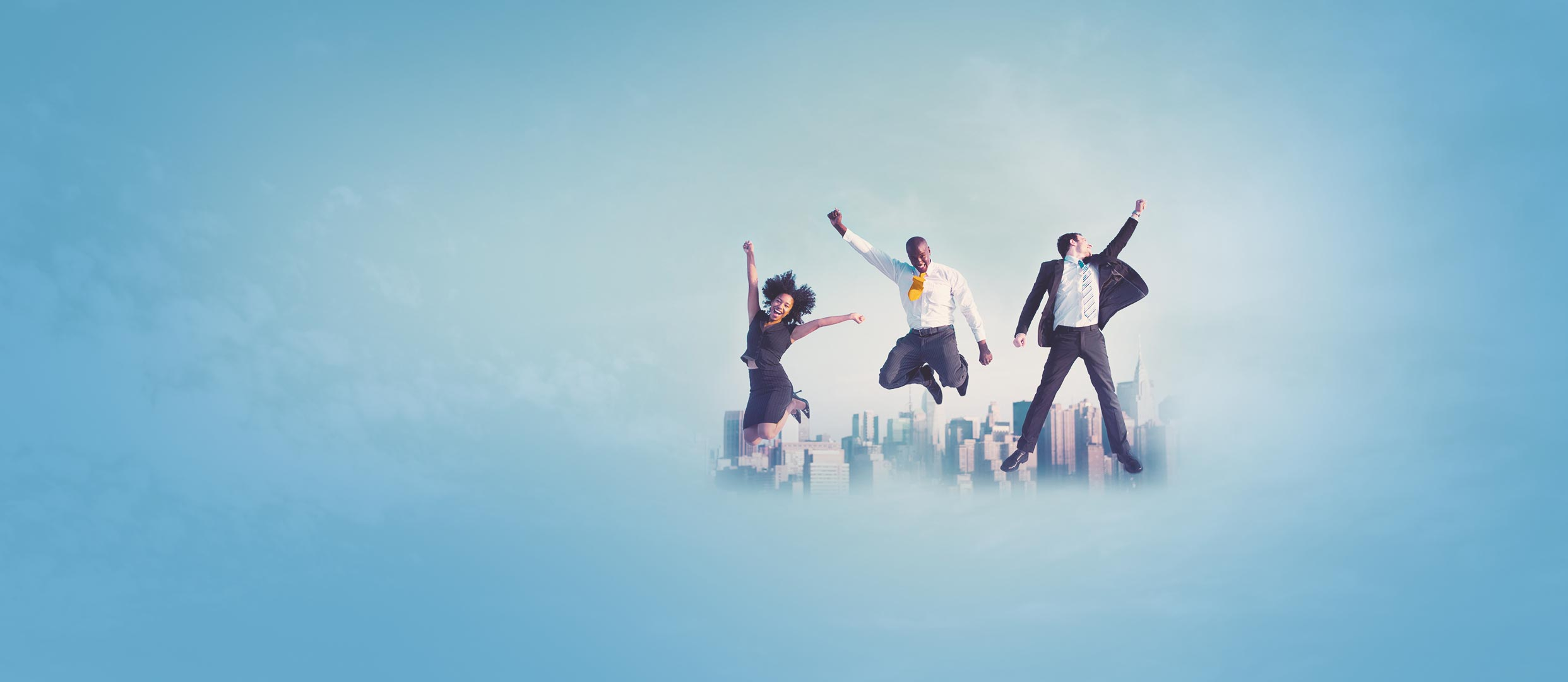 three business people jumping happily with a city background