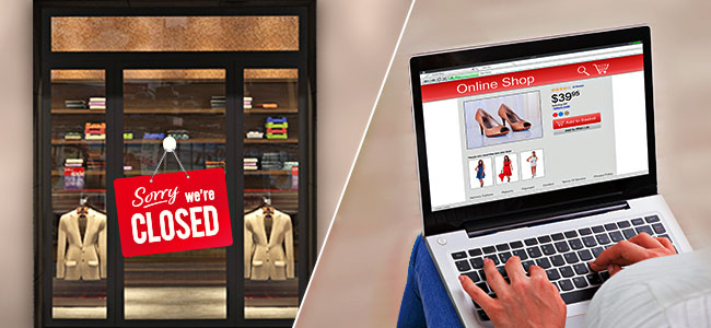 half images with store and of sorry we're closed sign and half image of female online shopping using a laptop
