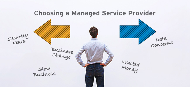 businessman choosing direction with Choosing a Managed Service Provider text